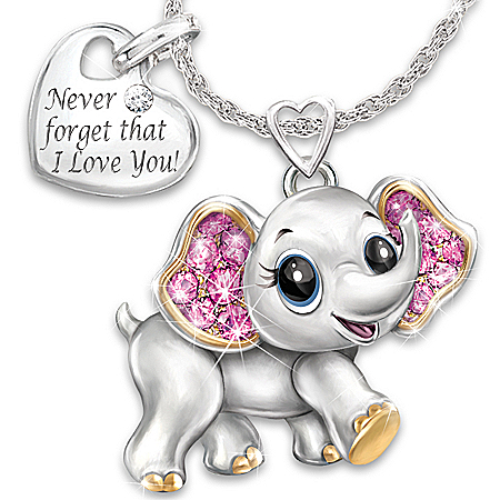 Granddaughter, Never Forget I Love You Engraved Crystal Pendant Necklace