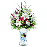 Winter Cardinals Crystal Table Centerpiece With Frosted Vase