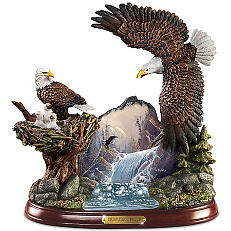 Ted Blaylock Watchful Winged American Bald Eagle Sculpture Showcases Guardians Falls Artwork