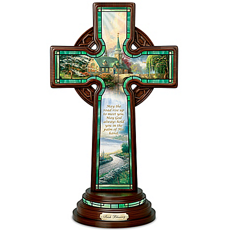 Thomas Kinkade Stained Glass-Styled Irish Blessing Cross