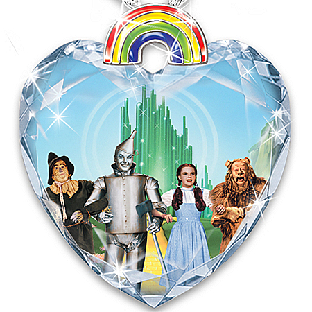 Necklace: Wizard Of Oz Over The Rainbow Crystal Heart Pendant Necklace