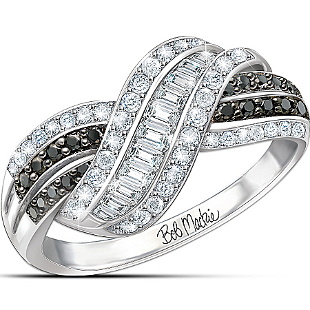 Bob Mackie Night and Day Diamonesk Ring with Black and White Simulated Diamonds