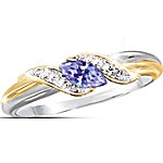 Women's Embrace Sterling Silver Ring With Tanzanite And Diamond