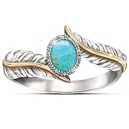 Free Spirit Genuine Turquoise Cabochon Sterling Silver Women's Ring