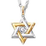 Star Of David Personalized Diamond Women's Pendant Necklace