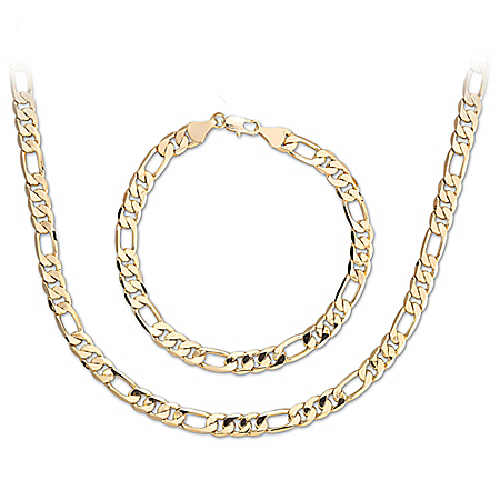The Connoisseur Stainless Steel Men's Chain Necklace And Bracelet Set