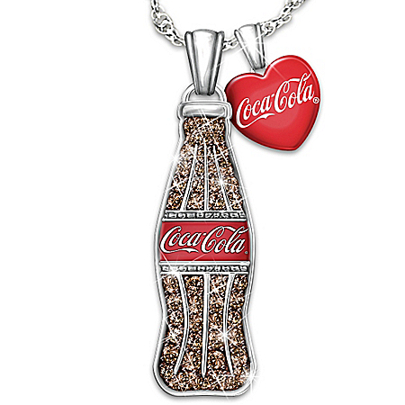 COCA-COLA Crystal Coke Bottle Pendant Necklace With Heart Charm