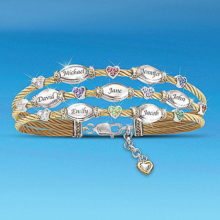 The Strength Of Family Personalized Name-Engraved And Birthstone Cable Bracelet – Personalized Jewelry