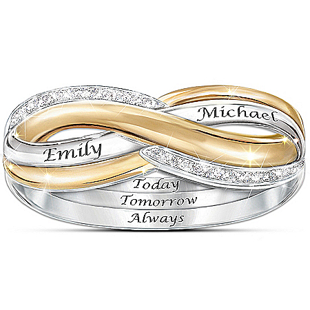 Sterling Silver Forever Love Personalized Infinity Diamond Ring