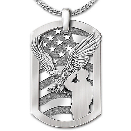 Service Before Self Stainless Steel Men's Dog Tag Pendant Necklace
