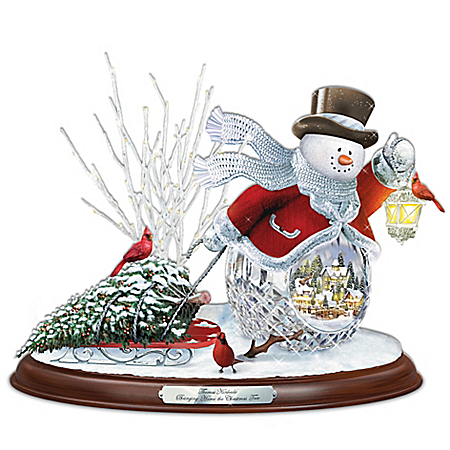 Thomas Kinkade Crystal Snowman Bringing Home The Christmas Tree Musical Sculpture