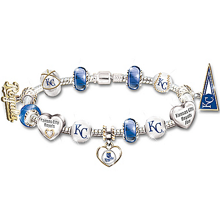 MLB-Licensed Go Kansas City Royals! #1 Fan Women's Sterling Silver Plated Charm Bracelet