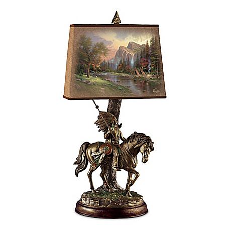 Thomas Kinkade Native Journeys Bronzed Sculpture Lamp
