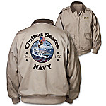Navy Forever Men's Twill Jacket With United States Navy Appliqu On Back
