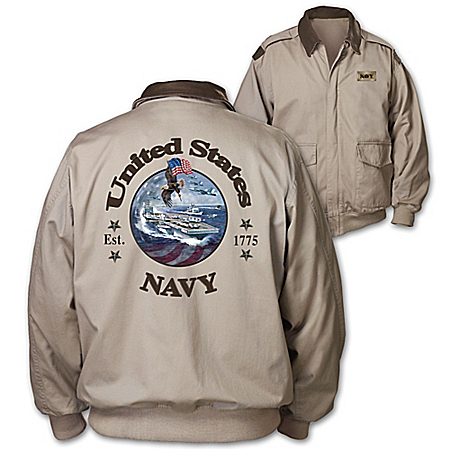 Navy Forever Men's Twill Jacket With United States Navy Appliqué On Back