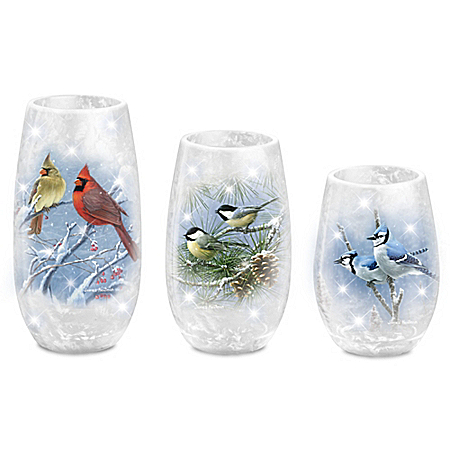James Hautman Winter's Frost Songbird Candleholder Set