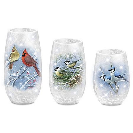 James Hautman Winter's Frost Songbird Candleholder Set