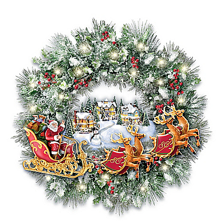 Thomas Kinkade A Very Merry Welcome Light Up Christmas Wreath