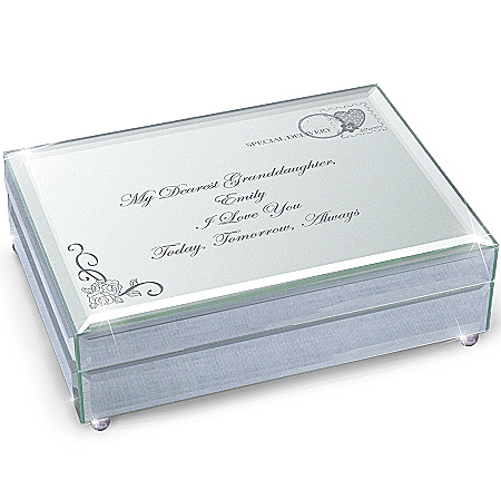 Music Box: My Granddaughter, I Love You Always Personalized Mirrored Music Box