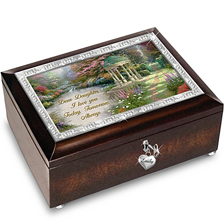 Music Box: Thomas Kinkade My Daughter, I Will Love You Always Personalized Music Box