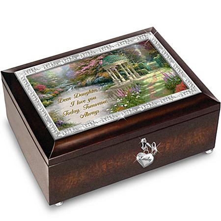 Music Box: Thomas Kinkade My Daughter, I Will Love You Always Personalized Music Box