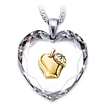 Heart Of A Teacher Heart-Shaped Crystal Pendant Necklace