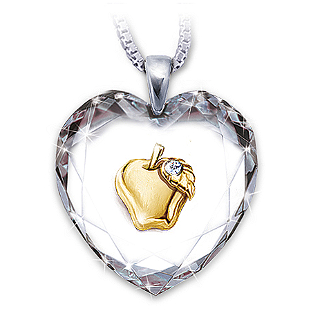 Heart Of A Teacher Heart-Shaped Crystal Pendant Necklace