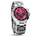 MLB-Licensed St. Louis Cardinals Men's Collector's Stainless Steel Chronograph Watch