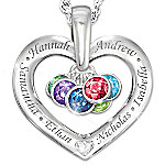Together With Love Personalized Diamond Pendant Necklace With Birthstones