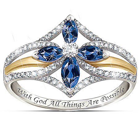 The Promise Of Faith Sapphire And White Topaz Women's Cross Ring