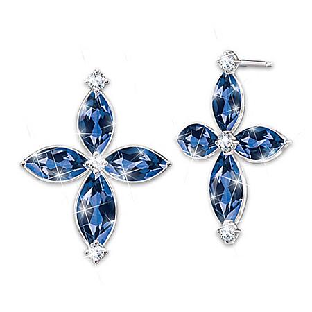 Promise Of Faith Blue Sapphire And Diamond Cross Earrings