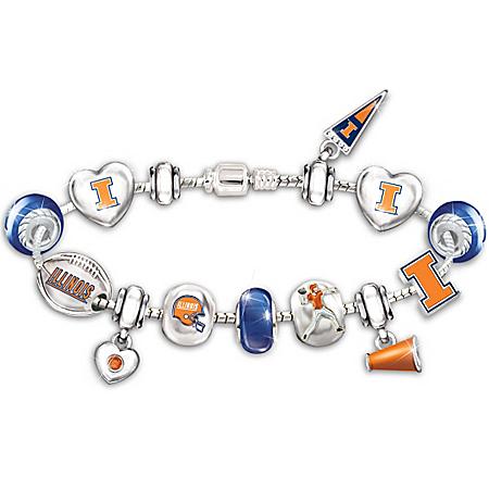 Bracelet: Go University Of Illinois Fighting Illini! #1 Fan Charm Bracelet
