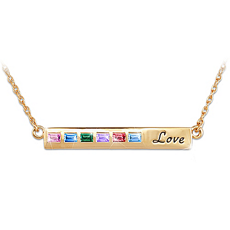 A Mother's Love Personalized Family Birthstones Necklace