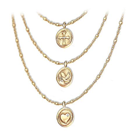 Heartfelt Blessings Faith, Hope And Love Daughter Diamond Necklace