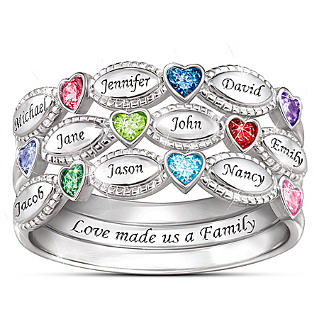My Family, My Love Personalized Sterling Silver Birthstone Ring Set