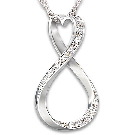 Forever My Granddaughter Diamond Sterling Silver Infinity Pendant Necklace – Graduation Gift Ideas