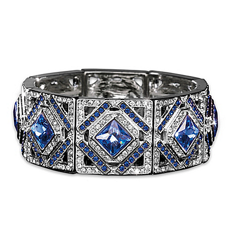 Women's Luxury In Blue Stretch Bracelet With Blue And White Crystals And Stud Earrings