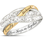 Together In Love Personalized White Diamonds Women's Ring