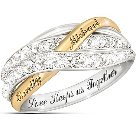 Together In Love Personalized White Diamonds Women's Ring – Personalized Jewelry