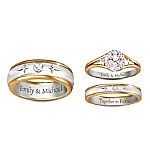 Forever In Faith His & Hers Personalized Set Of Diamond Wedding Rings