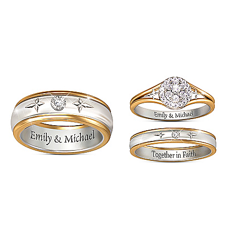 his hers personalized christian diamond wedding ring set - Christian Wedding Rings