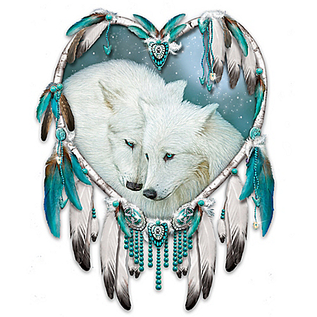 Native American-Style Wolves Kindred Spirits Wall Decor Dreamcatcher