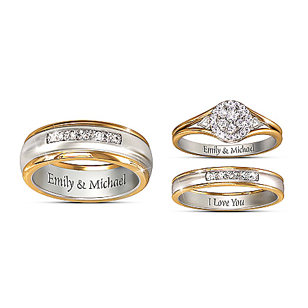 Together Forever His & Hers Personalized Set Of Diamond Wedding Rings – Personalized Jewelry