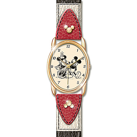 Disney Timeless Love Leather Watch Featuring Mickey Mouse And Minnie Mouse