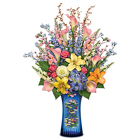 Claude Monet's Artistic Impressions Crystal Vase Table Centerpiece