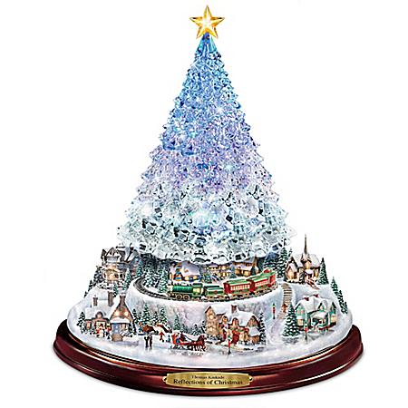 Thomas Kinkade Reflections Of Christmas Light Up Tabletop Tree