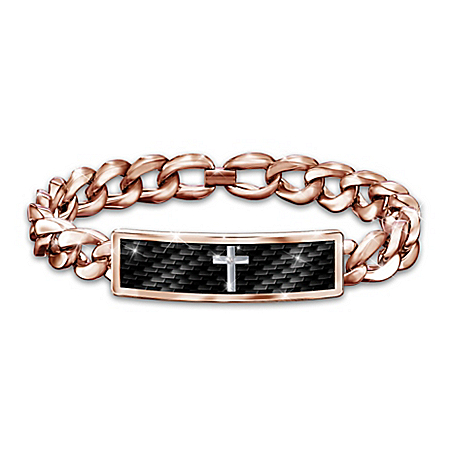 Power Of Faith Men's Copper Healing Diamond Bracelet