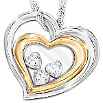 Window To My Heart Floating Heart-Shaped Crystals Daughter Pendant Necklace