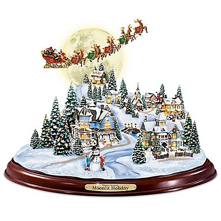 Thomas Kinkade Moonlit Holiday Sculpture With The Night Before Christmas Narration