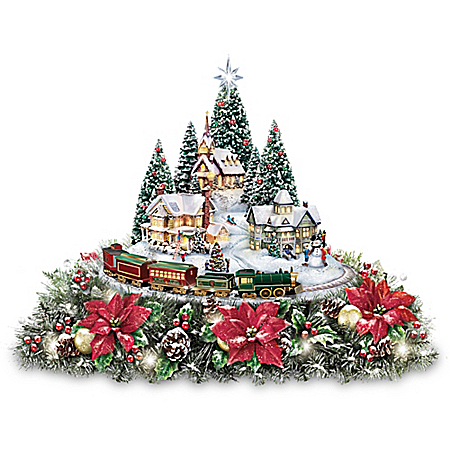 Thomas Kinkade Christmas Village Floral Centerpiece with Lights Music and Motion